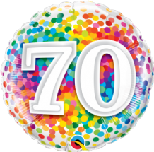 "70 Rainbow Confetti Foil Balloon (18"") 1pc"